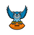 great horned owl american football mascot vector image vector image