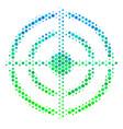 halftone blue-green target bullseye icon vector image