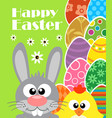 happy easter background with rabbit and chicken vector image