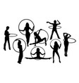 hula hoop girl activity silhouettes vector image