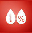 humidity icon isolated on red background vector image vector image