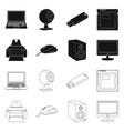 isolated object of laptop and device logo set of vector image vector image