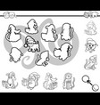 Match silhouettes activity coloring page vector image