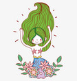 mermaid woman with flowers plants and leaves vector image vector image