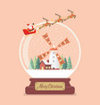 merry christmas glass ball with santa sleigh and vector image vector image