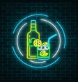 neon sign of tequila bar with bottle and drink in vector image