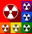 radiation round sign set of icons with vector image