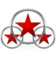 red stars in gears composition vector image
