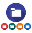 round icon of folder flat style with long shadow vector image vector image