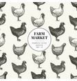 seamless farm pattern graphical hen vector image