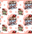 seamless pattern with cupcake with strawberry vector image
