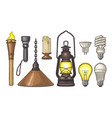 set lighting object torch candle flashlight vector image