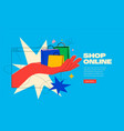 shop online or delivery service banner concept vector image vector image