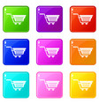 shopping basket on wheels icons 9 set vector image vector image