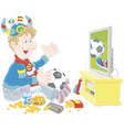soccer fan with a ball and a scarf in front of tv vector image