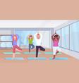 sporty man women group doing yoga exercises mix vector image