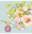 Spring Floral Bouquet with Birds Greeting Card vector image vector image