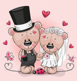 teddy bride and teddy groom on a pink background vector image