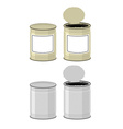Template Tin with design Open a tin can Tin on a vector image vector image