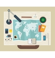 Top view of desk background with map digital vector image