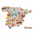 traditional symbols of spain in the form of a map vector image