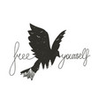 typography poster with monochrome flying bird vector image vector image