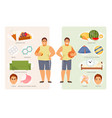 unhealthy and healthy lifestyle vector image vector image