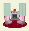 winter festive season house interior vector image