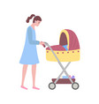 woman walking with child sleeping in perambulator vector image vector image