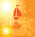 yacht in the open sea at sunset vector image