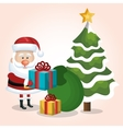 card santa claus gift and bag with tree snow star vector image