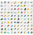 100 corporate icons set isometric 3d style vector image vector image