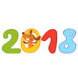 2018 new year with happy dog vector image