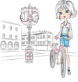Beautiful fashionable girl with a bike on town squ vector image vector image