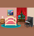 bedroom scene with piano and bed vector image