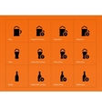 Beer and alcohol glasses icons on orange vector image vector image