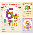 birthday invitation card template with animals vector image vector image