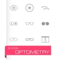 black optometry icons set vector image vector image
