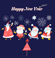 bright winter card with dancing santa clause vector image