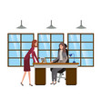 businesswomen in work office avatar character vector image vector image
