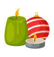 candles and bauble ball christmas and new year vector image