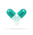 capsule pill with granules vector image vector image