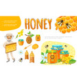 cartoon colorful beekeeping elements set vector image