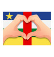 central african republic flag and hand heart shape vector image vector image