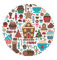 christmas sweet treats in circle shape print vector image