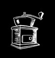 coffee grinder white chalk on black chalkboard vector image vector image