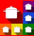 cooking pan sign set of icons with flat vector image vector image