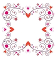 decorative frame with hearts flowers 2 vector image vector image