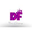 df d f dots letter logo with purple bubbles vector image