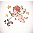 doodle vintage greeting card with cartoon cupid vector image